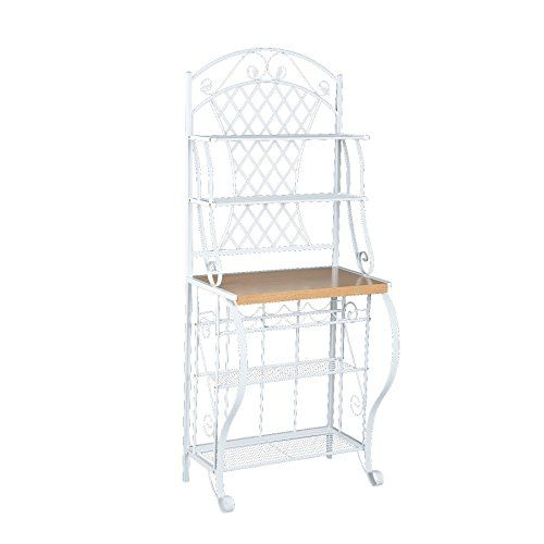 Southern Enterprises Trellis Bakers Rack With Scroll Work White