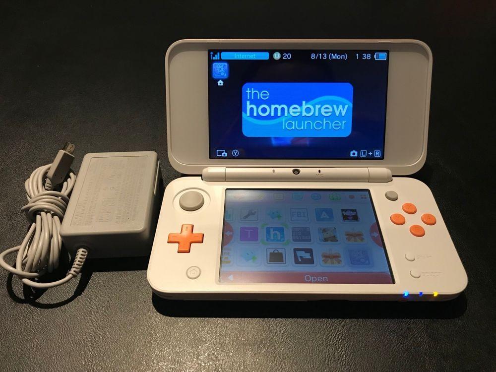 Nintendo 2DS XL modded w/ CFW Luma 3DS Homebrew - Charger w/ 16GB