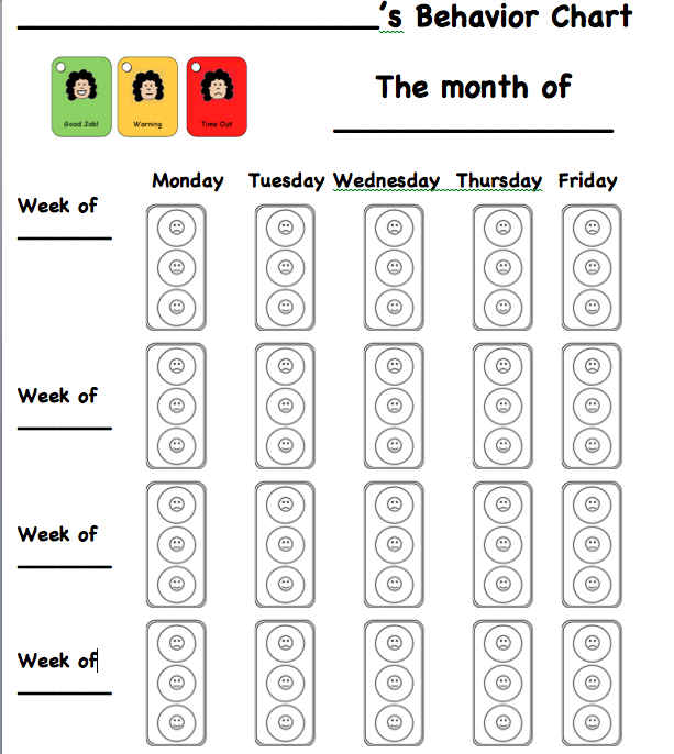 traffic light behavior chart template – Behaviour Chart Template
