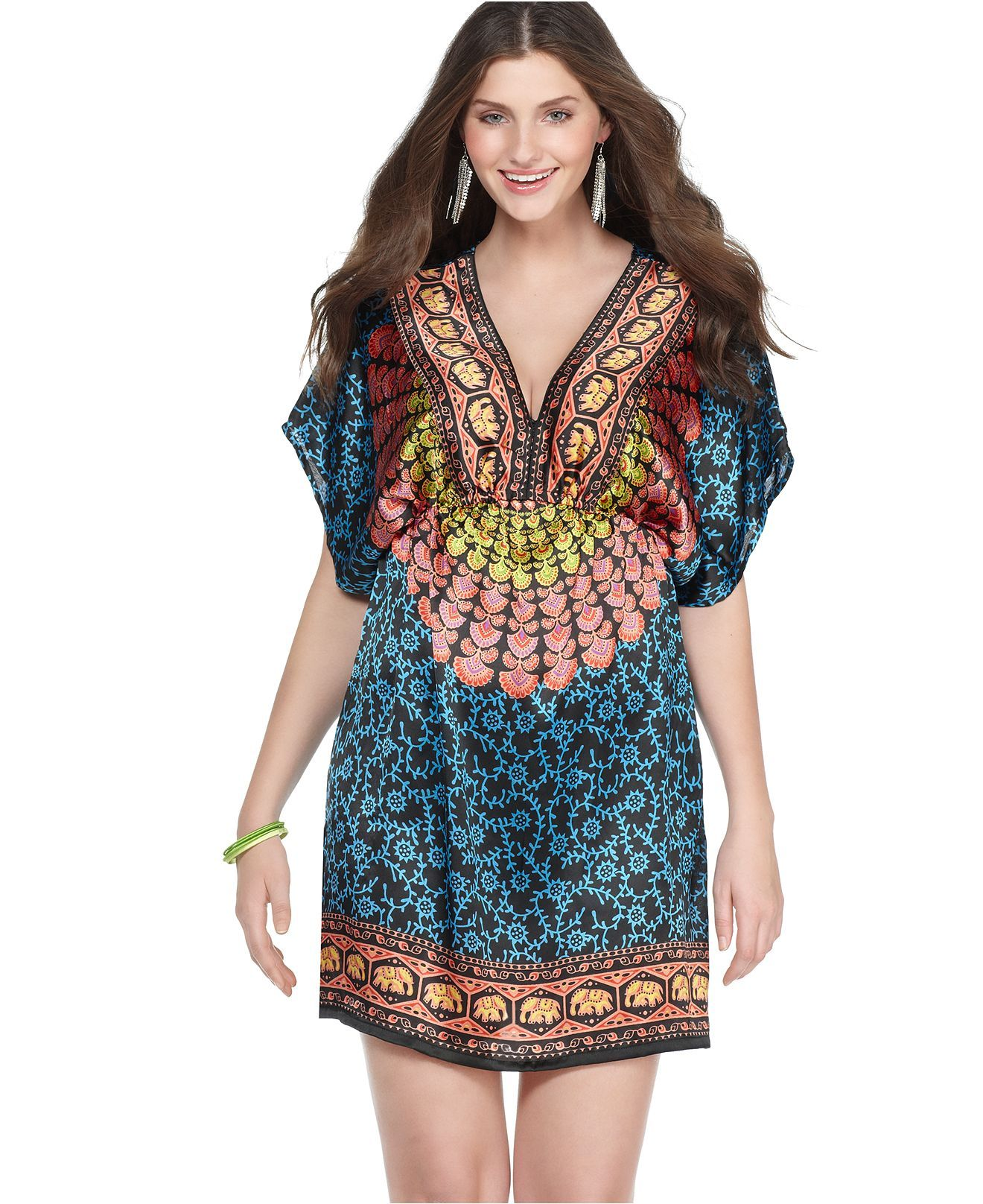 American rag plus size dress short sleeve printed empire fashion