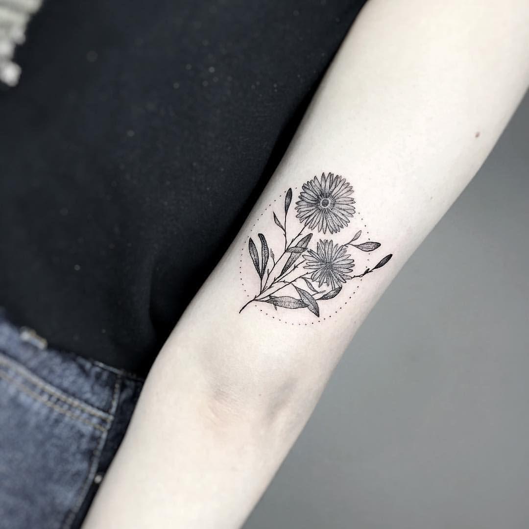 September Aster Half Sleeve Tattoos Drawings Birth Flower Tattoos Aster Flower Tattoos