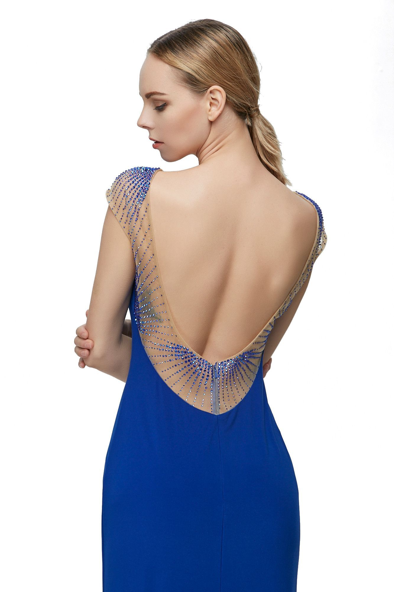 Fashion Perfactory Blue Mesh Paiiiette Patchwork Evening Dress