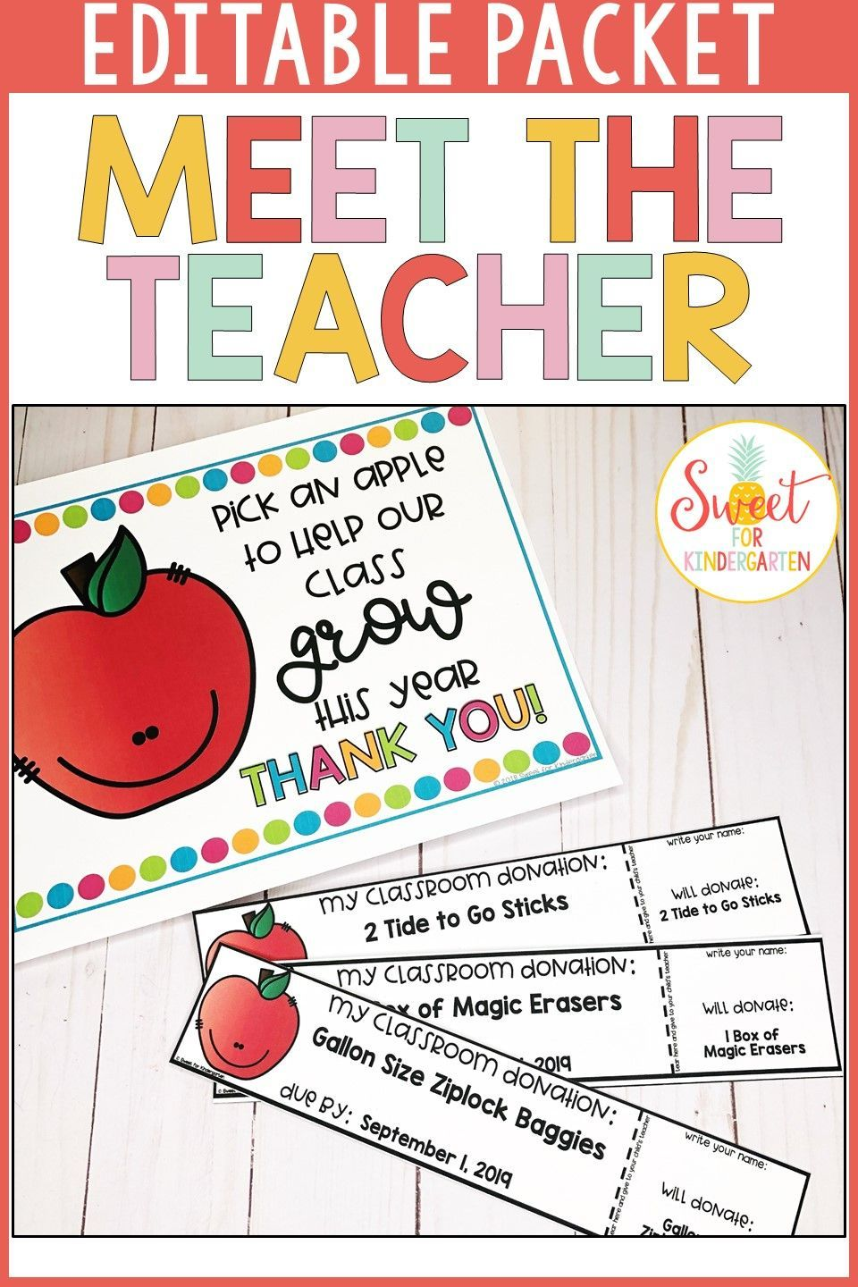 Meet the Teacher Editable Packet Grab everything you need for Meet the Teacher in one editable packet! It includes step by step stations signs, about me template, wish list display, scavenger hunt activity, treat ideas, printable forms, teacher business card, and more! Make a great first impression with your new student's parents!