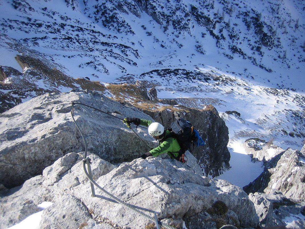 Klettersteig Tajakante : Klettersteig tajakante winterbergsteigen