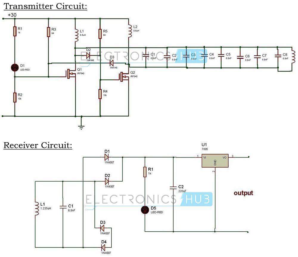wireless power transfer circuit circuit diagram electronics rh pinterest com