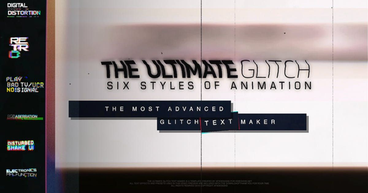70 Glitch Title Animation Presets Pack Glitch Text Maker By