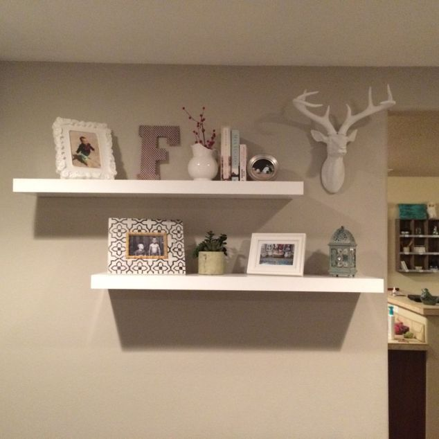 Lovely Home Decor Shelf Ideas Part - 3: Hang Something On The Wall In Between The Shelves. Love!