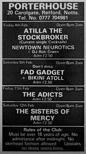 Le foto del concerto dei Sisters Of Mercy a Retford Porterhouse il 14/02/83