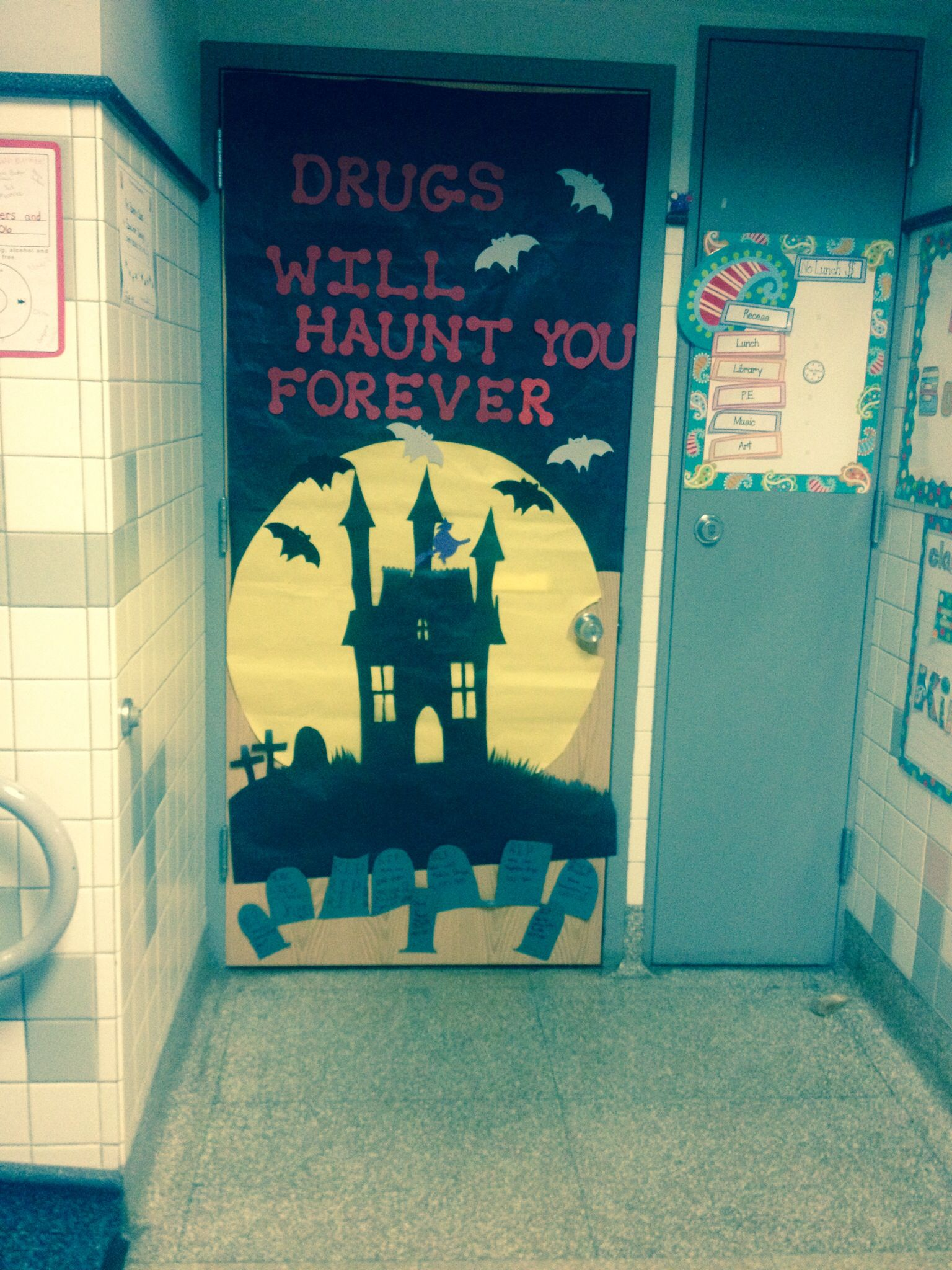 Red Ribbon Week Door decorating School Pinterest Red ribbon - Halloween Classroom Door Decorations