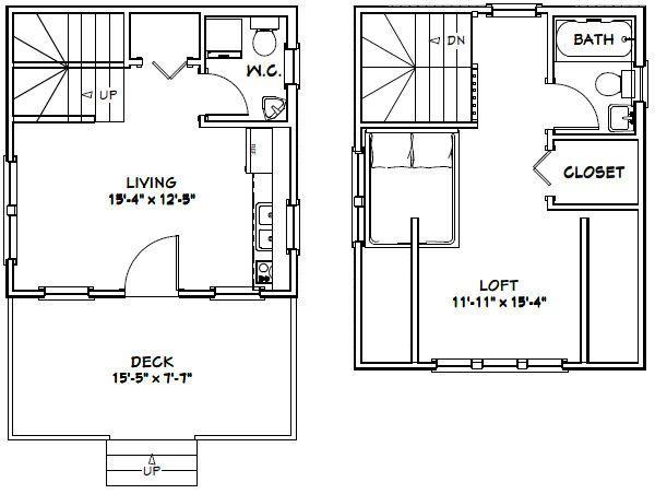 16x16 Tiny House -- #16X16H3 -- 492 sq ft - Excellent Floor Plans ...