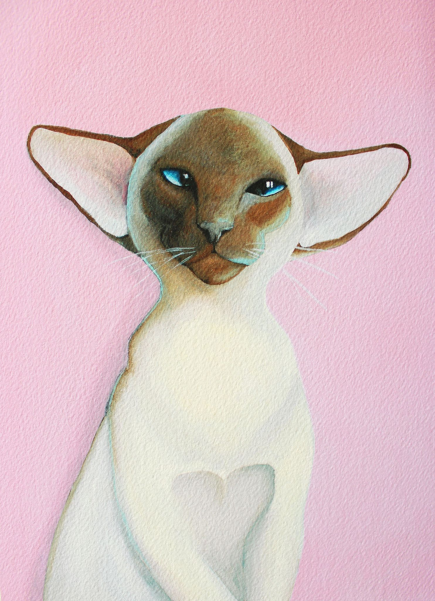 Siamese Cat painting Pink Siamese cats, Cat art
