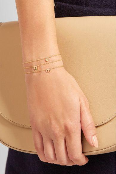 Jennifer Meyer Letter 18 Karat Gold Diamond Bracelet Net A Porter Com