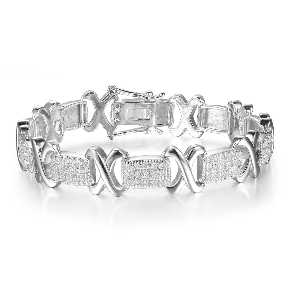 carat diamond x tennis bracelet in white gold overlay white