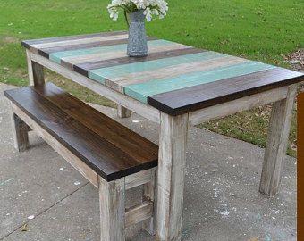 Farmhouse Table w/ Square 4 x 4 Legs Custom Built   Home ...