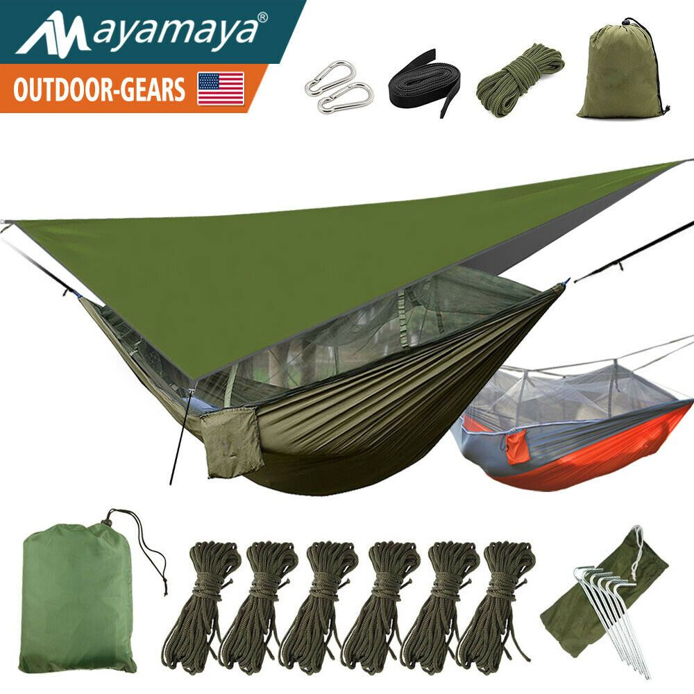 Camping Hammock With Mosquito Net Mesh Rain Fly Tarp Cover Portable 1 2 Person Hammock With Mosquito Net Camping Hammock Tent Hammock Camping