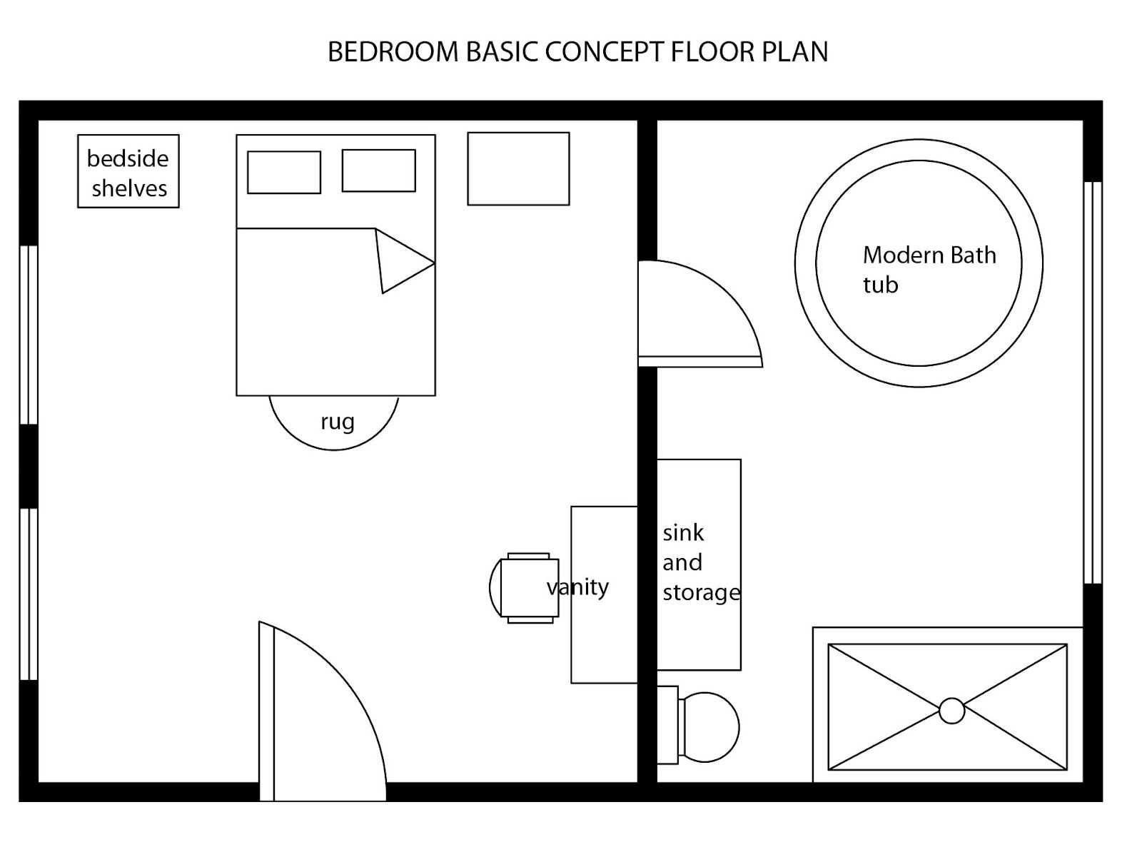 simple 1 bedroom floor plans | design ideas 2017-2018 | Pinterest ...