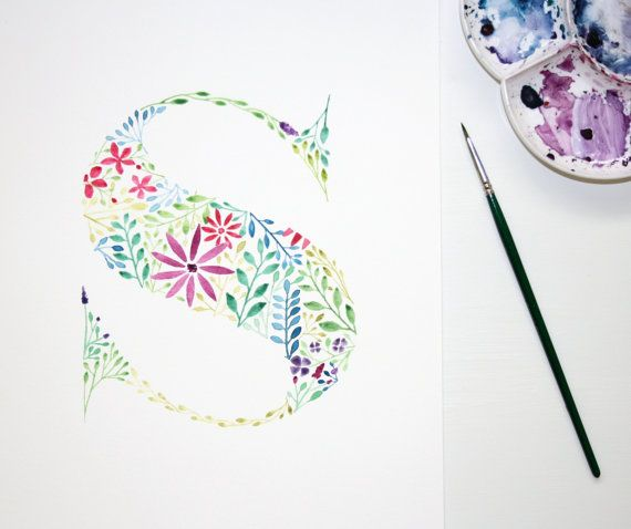 Watercolour floral letter S wall art print This is a print