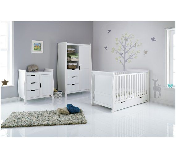 Obaby Stamford 3 Piece Furniture Room Set White Baby