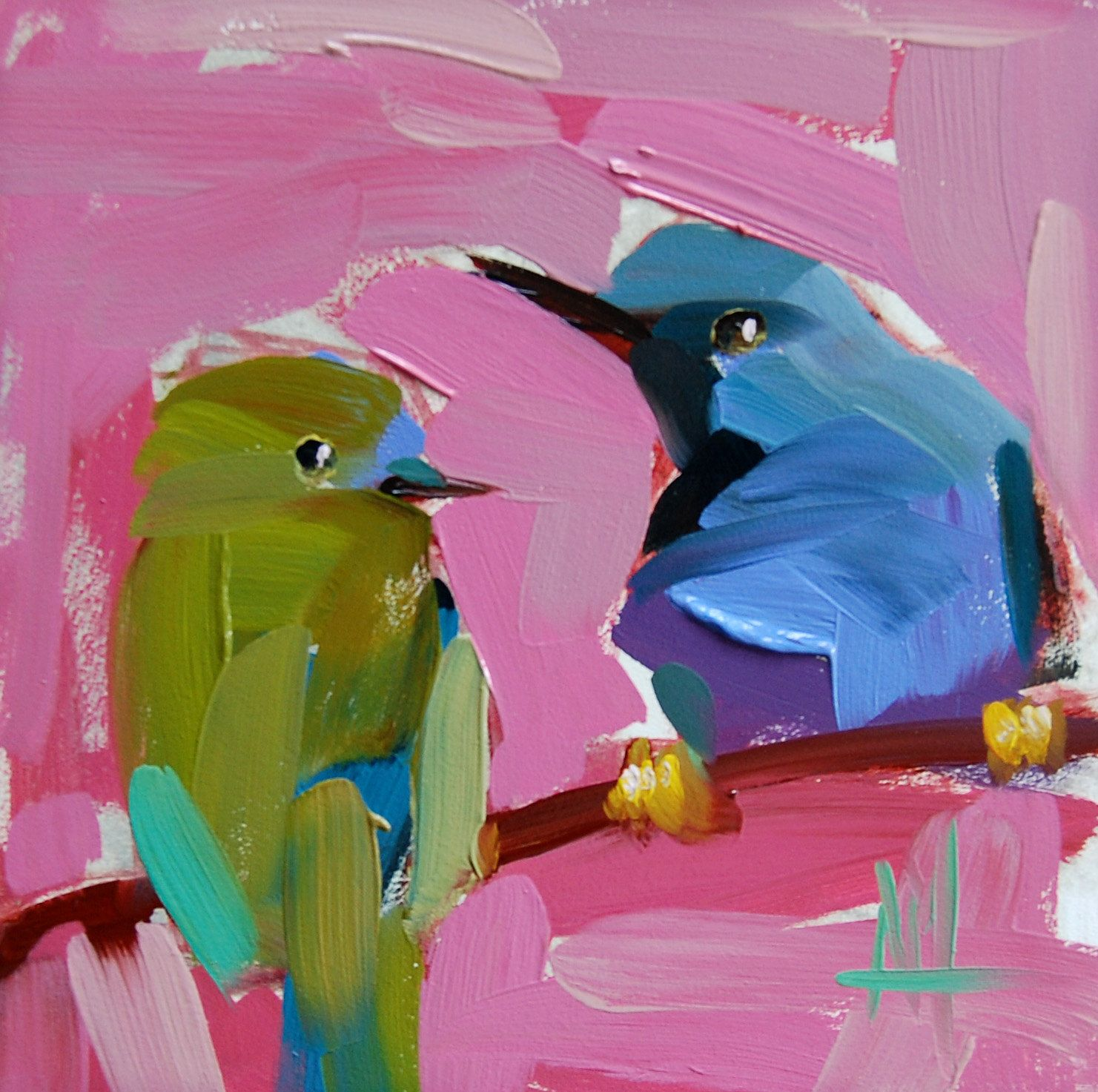 Two Shining Honeycreepers original bird oil painting by Angela Moulton 6 x 6 inch