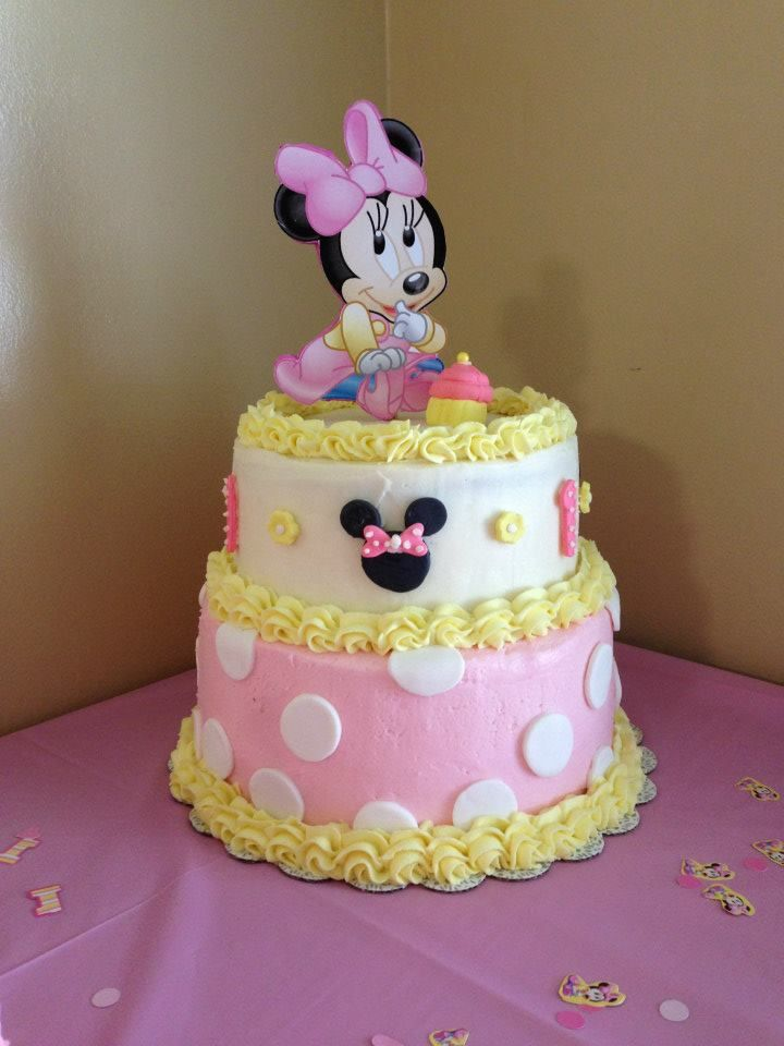 Awesome 1St Birthday Cake Baby Minnie Baby Birthday Cakes 1St Birthday Birthday Cards Printable Benkemecafe Filternl