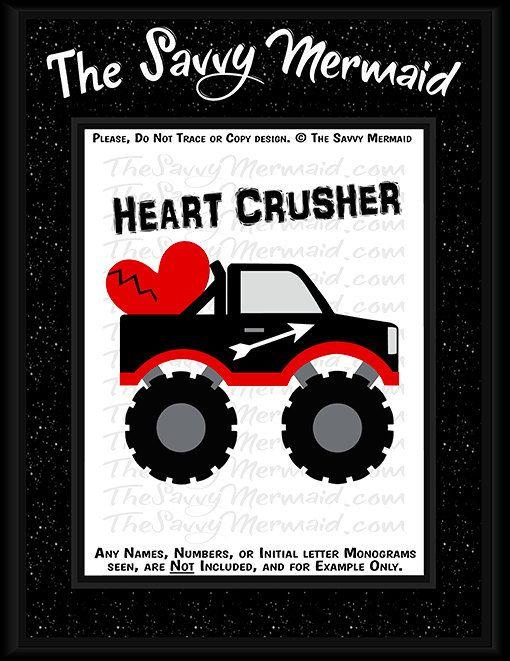 Get Truck Valentines Day, Boys Valentine, Monogram DXF