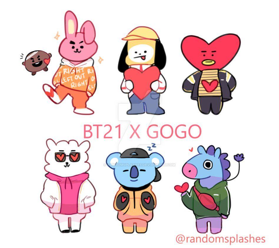 Bts Bt21 X Gogo By Randomsplashes Bts Fanart Bts Chibi Kpop Fanart Bts bt21 hd wallpapers new tab themes