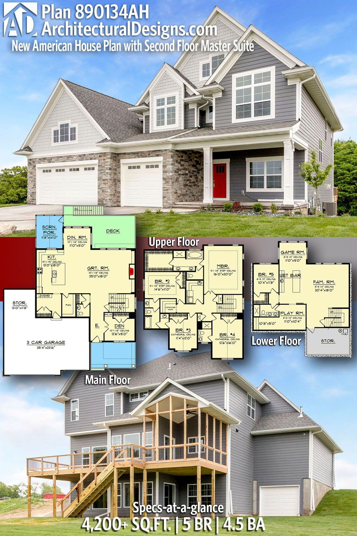 Plan 890134AH: New American House Plan With Second Floor