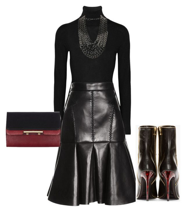 """""""Black and leather!!"""" by littlefeather1 ❤ liked on Polyvore featuring Lanvin, J. Mendel, Oasis, Topshop and Balmain"""
