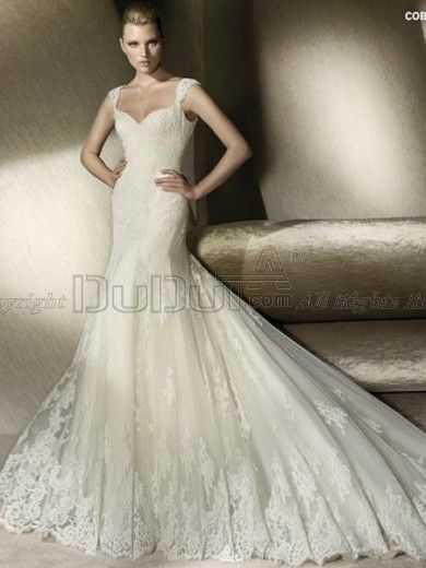 A-line Tulle Straps Sweep Wedding Dresses With Appliques, bridal gowns, bridal gown, bridal wedding dresses