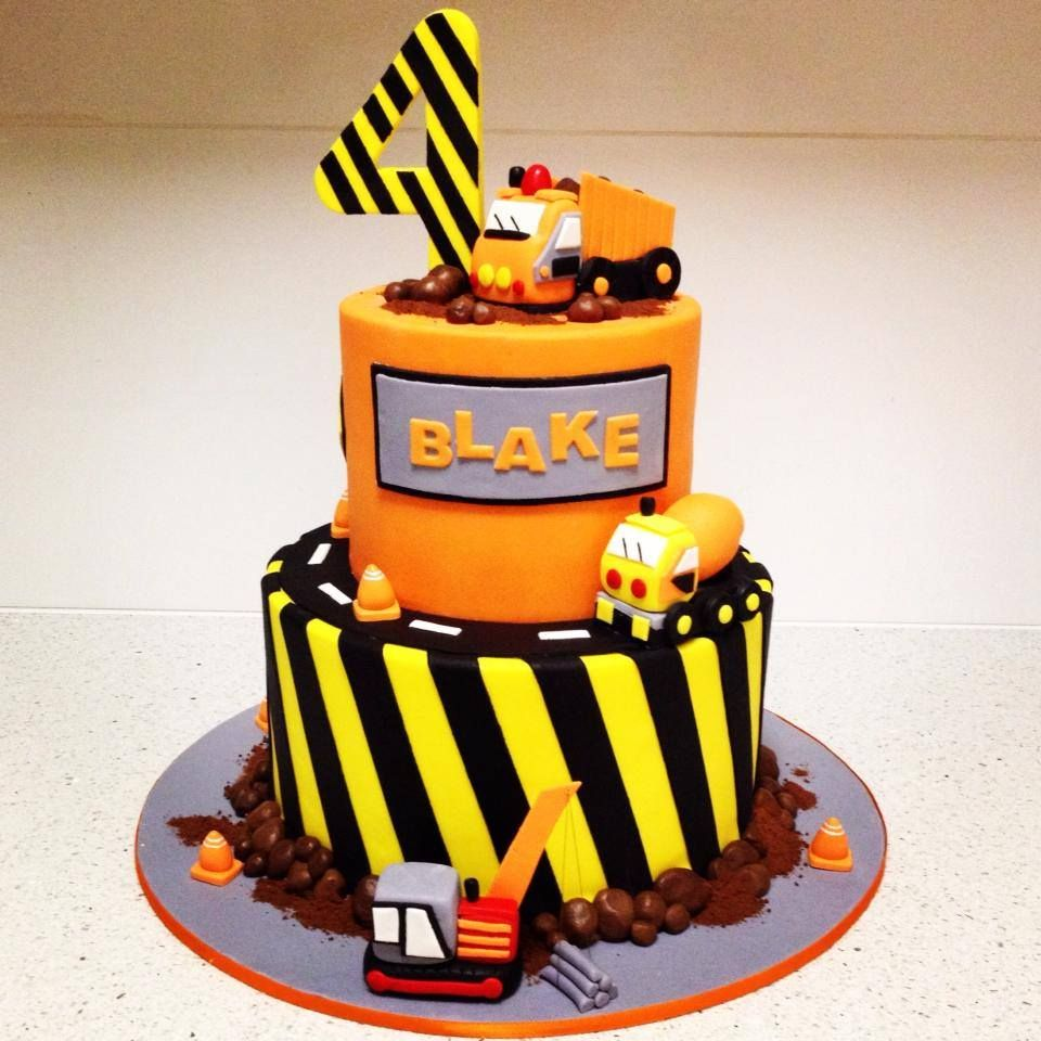 Boys truck cake 4th birthday (With images) | Construction ...