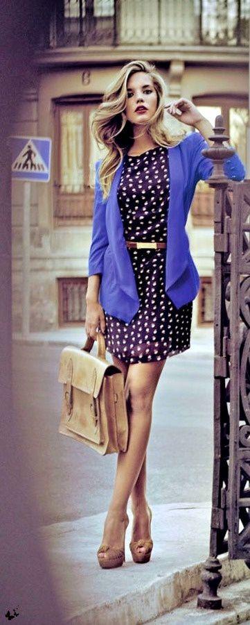 Printed dress, purple blazer and cream heels.