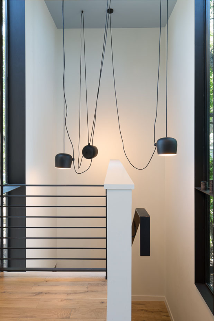 Aim Led Multi Light Pendant By Ronan Erwan Bouroullec For Flos A Special Multi Light Canopy Accommodates The Mu Stairway Lighting House Design Stair Lighting