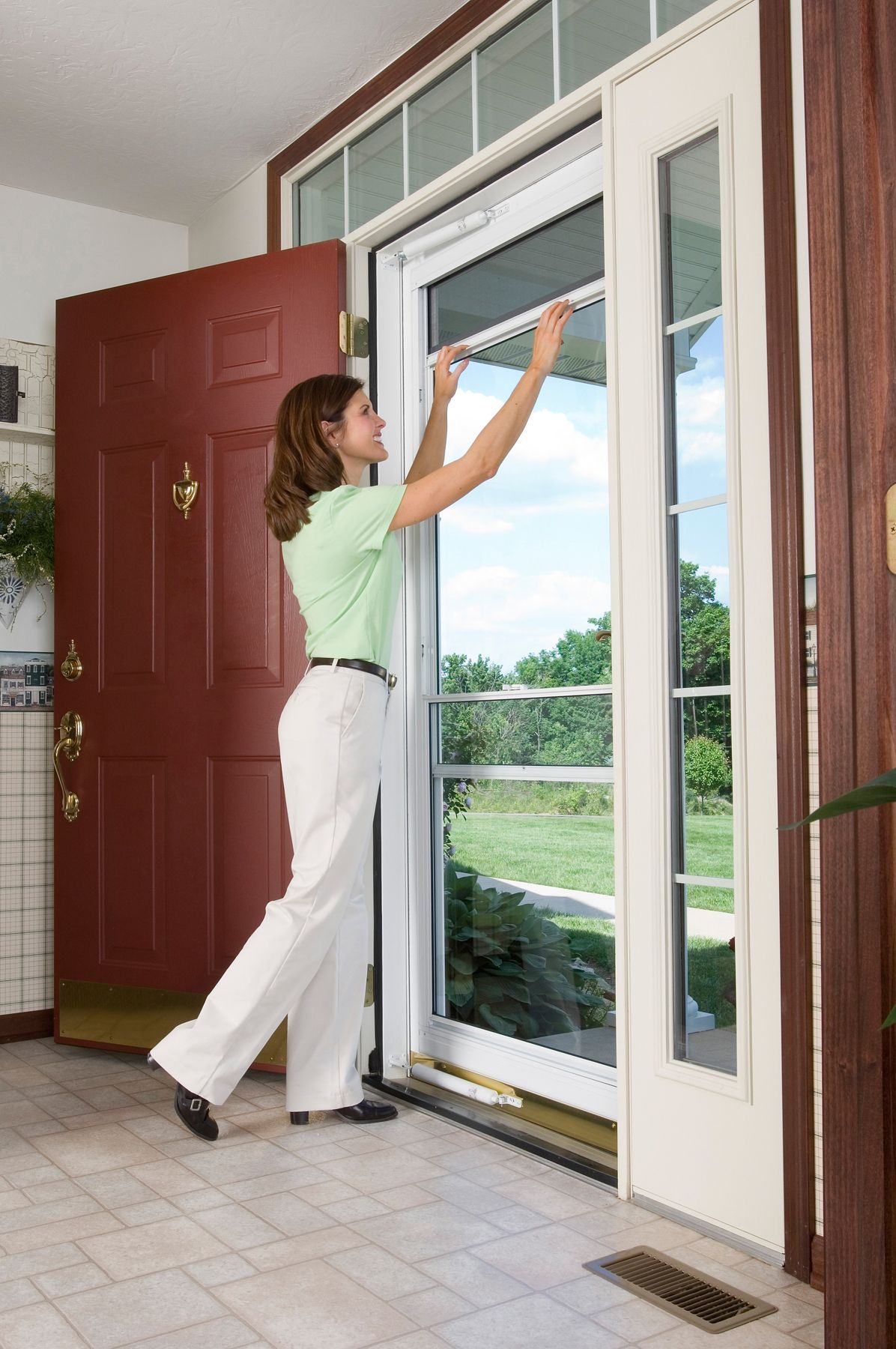 Self Storing Full View Storm Door Fresh Air When You Want It