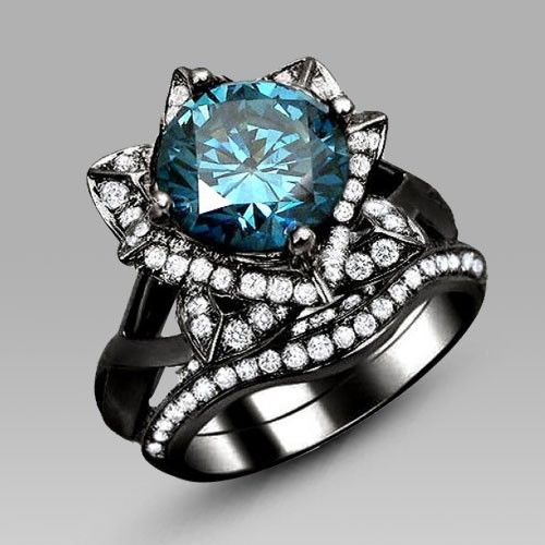 Black Flower Style Blue Round Cut Cubic Zirconia Engagement Ring