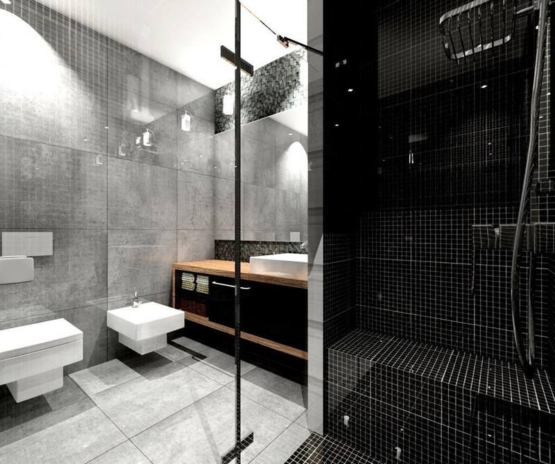 Incroyable Salle De Bain Noir Blanc Gris Dalles Simili Béton Mosaique Noire