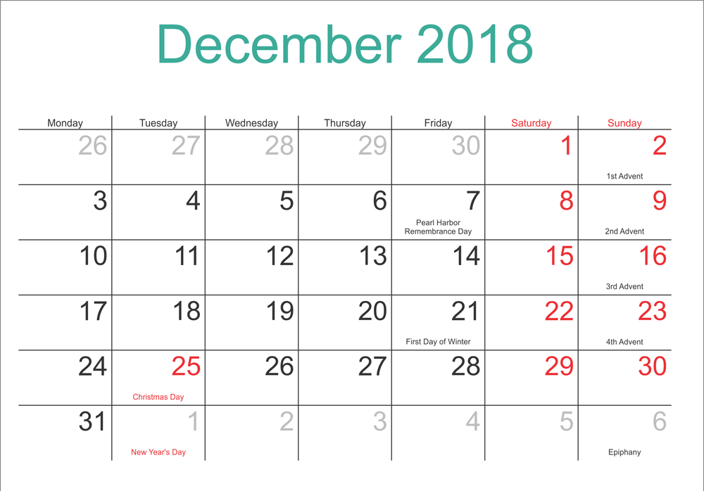December 2018 PDF Waterproof Printable Calendar Download