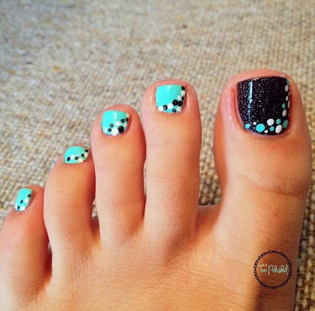 Easy To Do At Home Use A Pencil For The Dots Pedicure Designs Toenails Toe Nail Designs Toe Nails