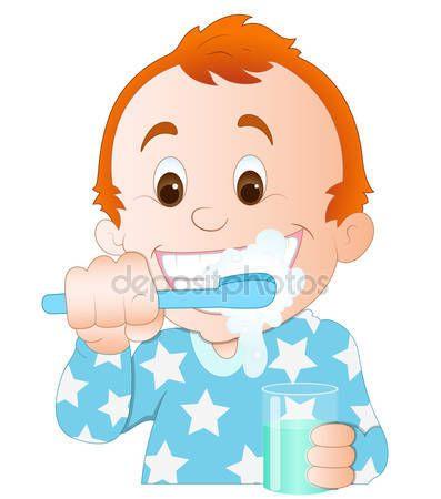 Descargar Nino De Dibujos Animados Cepillarse Los Dientes Ilustracion De Stock 9787886 Ninos Cepillandose Los Dientes Dientes Cepillos De Dientes