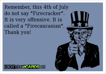 Lmao Remember This 4th Of July Do Not Say Firecracker It Is Very Offensive It Is Called A Firecaucasian Thank You You Funny Ecards Funny Humor
