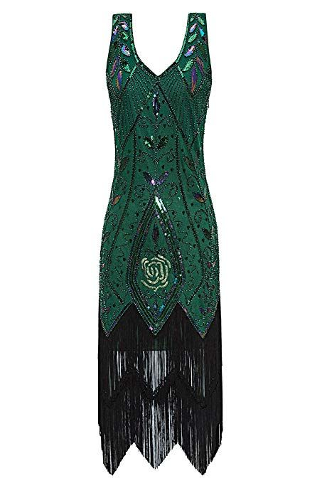 55a70a97e919 Metme Women s 1920s Vintage Flapper Fringe Beaded Great Gatsby Party Dress   Dresses