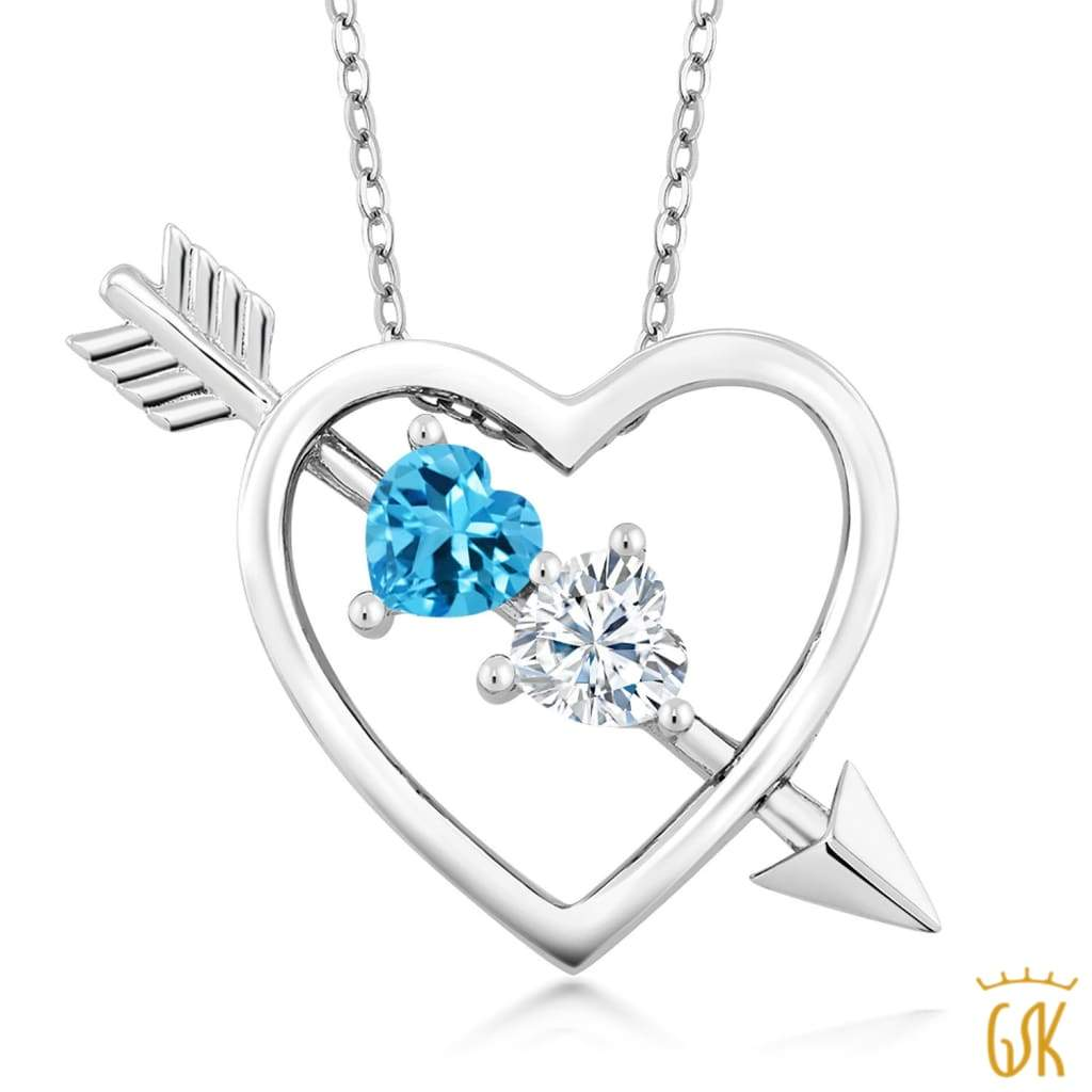 925 Sterling Silver Pendant Swiss Blue Topaz Created