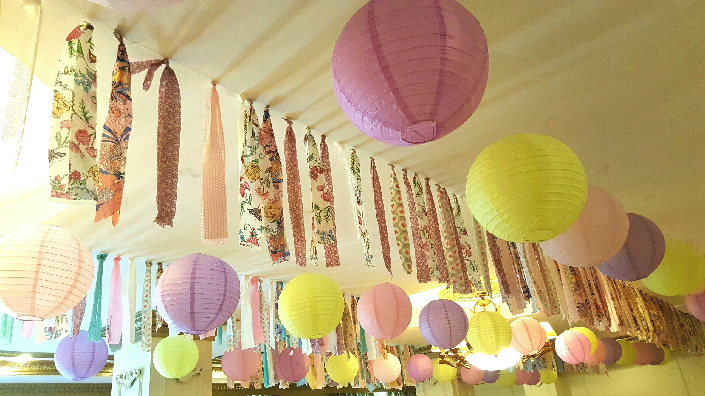 Unicorn Rainbow Party Ceiling Decoration Ideas Made Of Pastel Balloon Lanterns And Fabric Party Ceiling Decorations Balloon Lanterns Diy Classroom Decorations