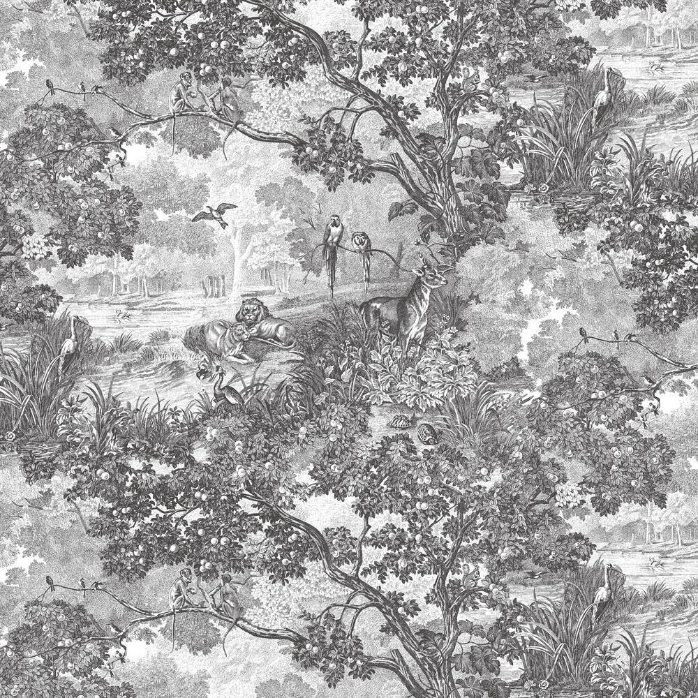 Jungle Toile Peel And Stick Wallpaper Jungle Wallpaper Toile Wallpaper Grey Toile Wallpaper