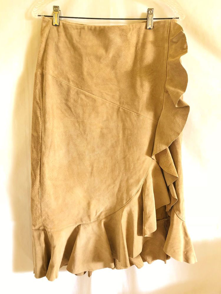 1ab9dc48a Moda International Womens Skirt Beige Suede Leather Long Ruffles Western Sz  8 #ModaInternational #StraightPencil #Casualanytime