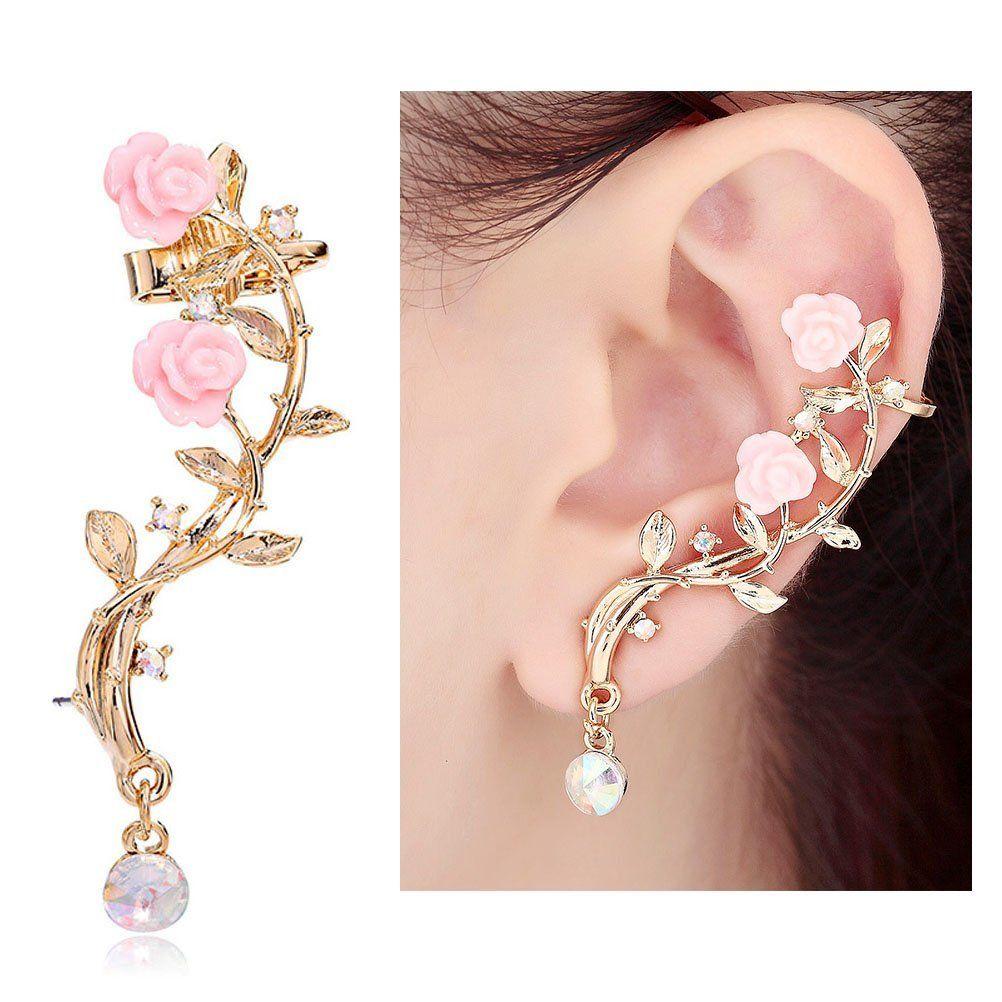 056a8cfc0 Amazon.com: CIShop Pink Rose Diamond Ear cuff Earrings stud Punk Style Ear  Wrap(left ear): Toys & Games
