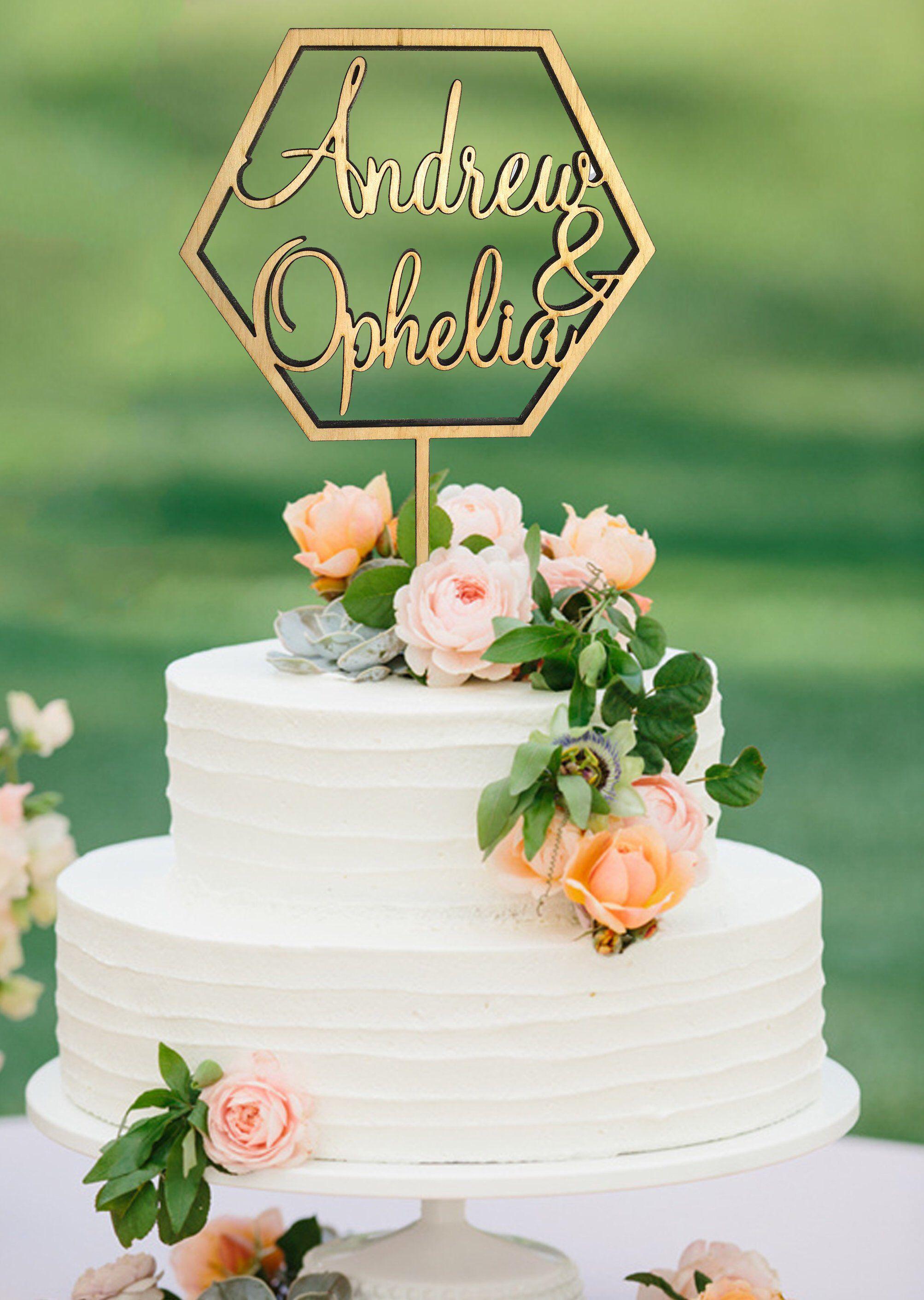 Geometric wedding cake topper rustic cake topper wood
