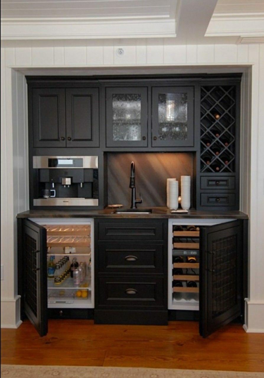 Dual Mini Fridge Cabinet Style Doors Basement Kitchenette