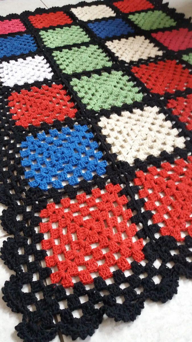 Tapete de barbante quadrado colorido