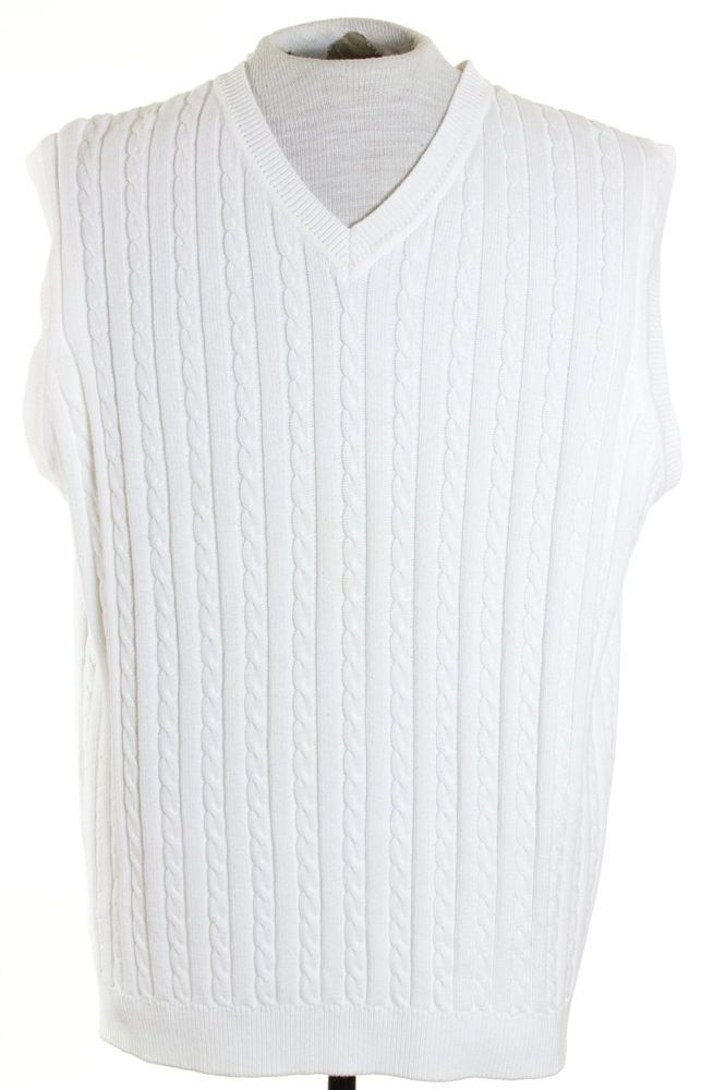 Brooks Brothers Golf Mens Sz XL White Knit V Neck Sweater Vest ...