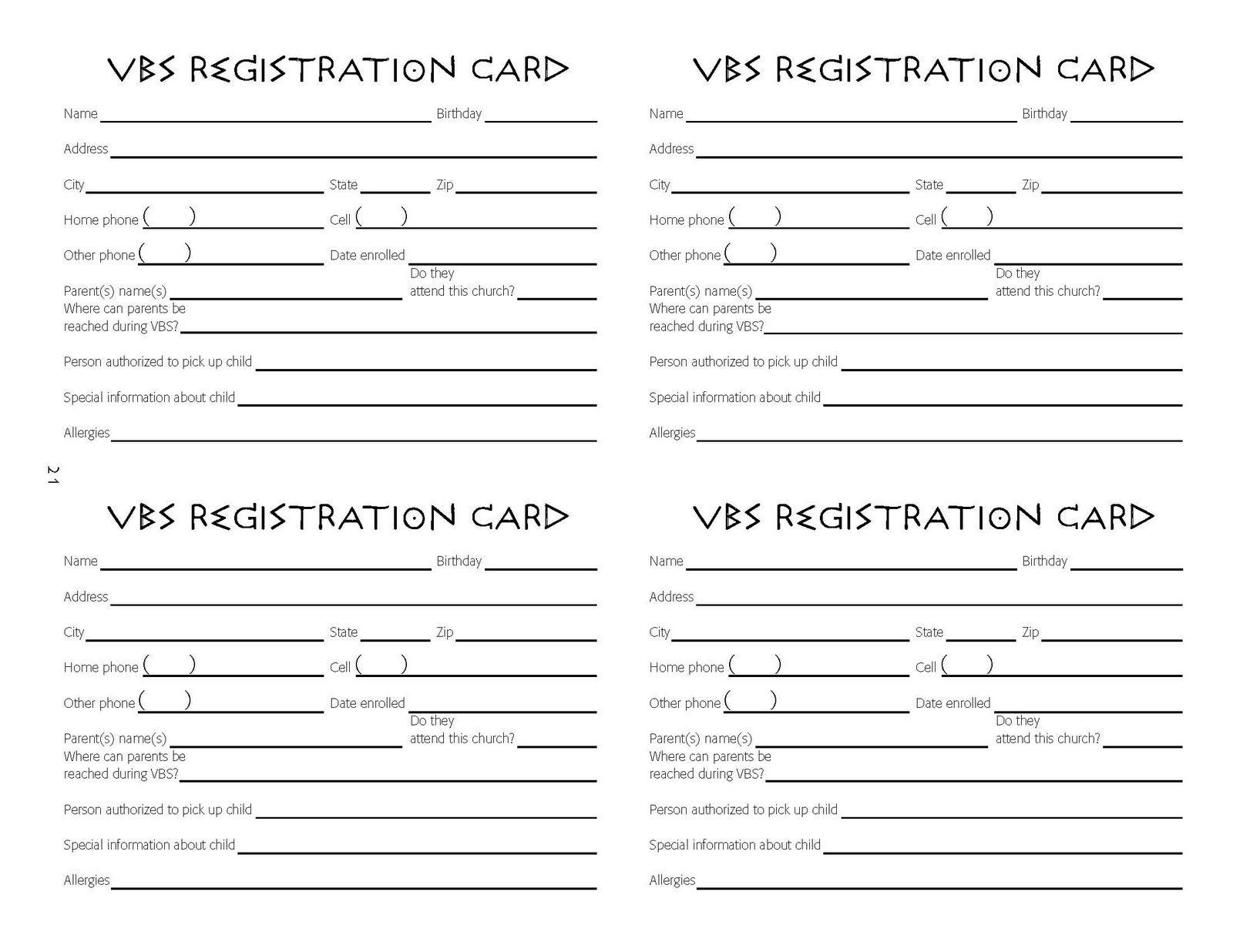 VBS+Registration+Cards.jpg 1,600×1,236 pixels | VBS Saturday ...